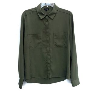 Topshop | Olive Green Button Down Shirt Size 12